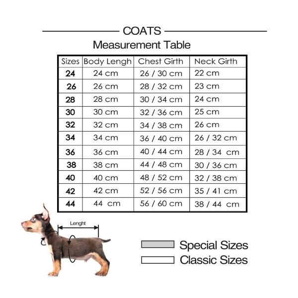 taille manteau doudoune chien