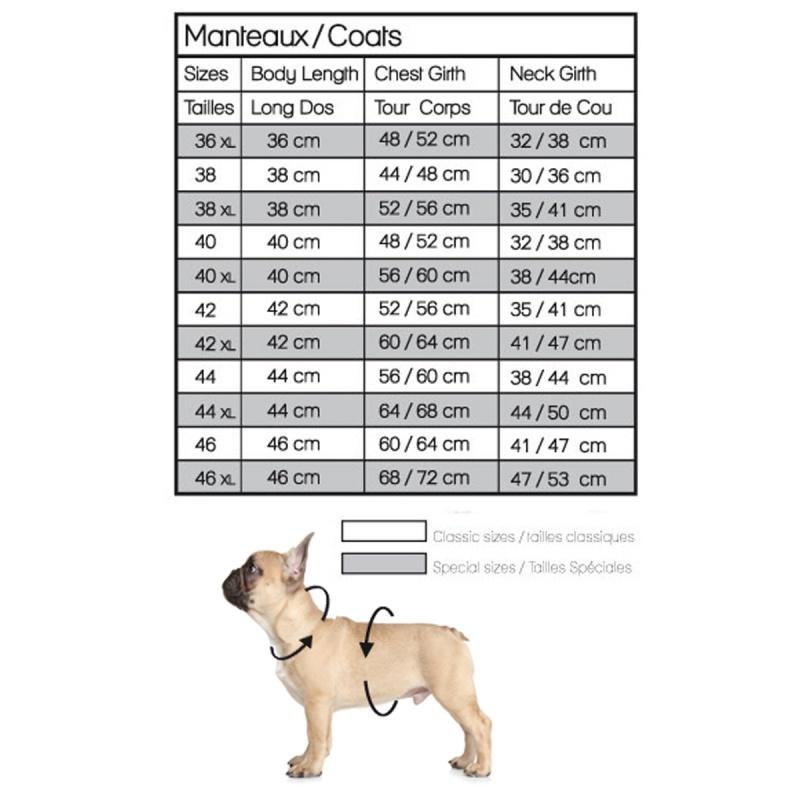 Taille manteau pour chien - bouledogue français et carlin