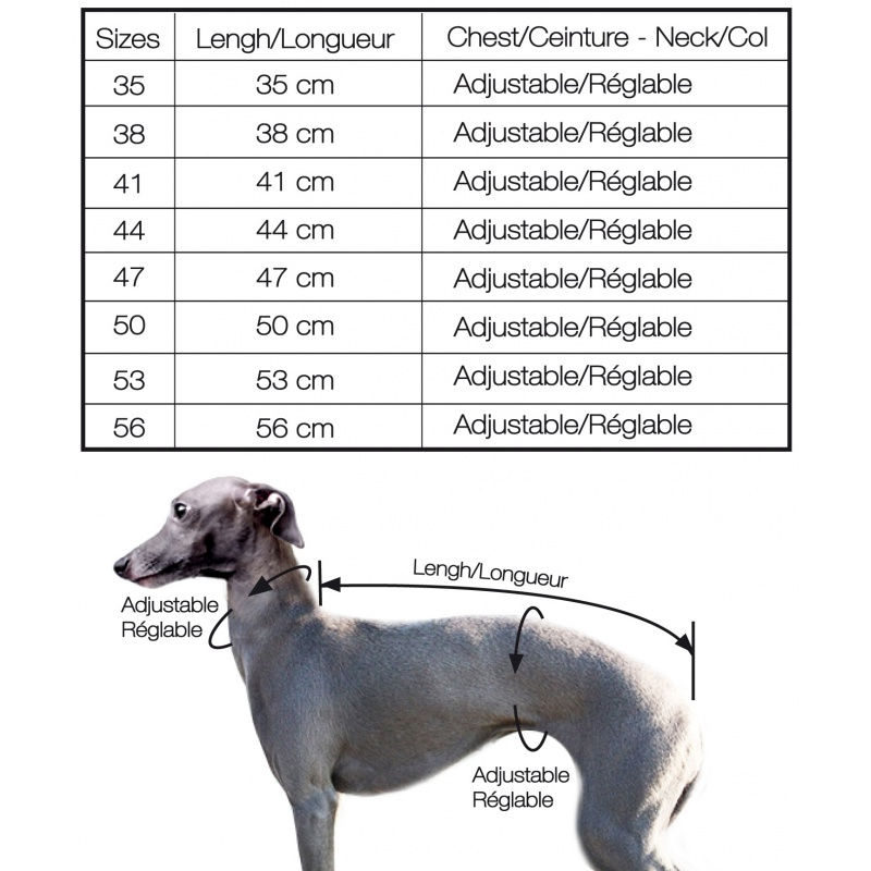 Taille manteau chien levrier whippet - tzar Milk and pepper